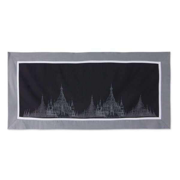 Pagoda Motif Artisan Crafted 100% Cotton Table Runner by Novica